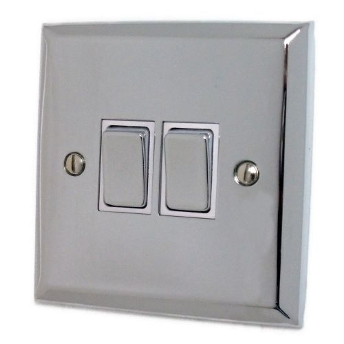G&H SC202 Spectrum Plate Polished Chrome 2 Gang 1 or 2 Way Rocker Light Switch